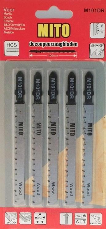 Decoupeerzaagjes 100x75x8x1,3x6T Hout 3103 kaart a 5. (Bosch 101D)